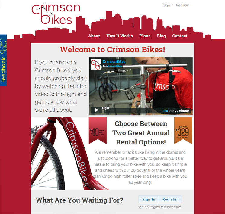Crimson Bike's New Homepage